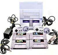 SNES Super Nintendo System Console 2 OEM Controllers 4 Games Yoshis Island Mario