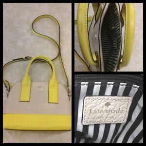 Kate Spade Handbag Tan & Yellow w/ Black Inv#Z3083