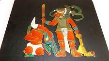 Vintage Brass, Enamel, Wood Picture EL PARDON, Artesanos Unidos Mexico Raul 1973