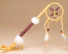 "NAVAJO Native American Made DeerSkin 14"" CEREMONIAL TALKING Stick Medicine Wheel"