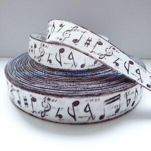Per Metre - Musical Notes 22mm Printed Grosgrain Ribbon / Party Cake/ Hair Bow