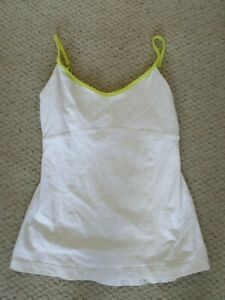 Lululemon womens size 8 oatmeal with lime green strappy tank top