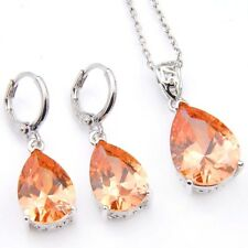 Jewelry Set Water Drop Natural Honey Morganite Silver Dangle Earrings Pendants