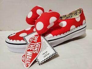 NWOB Disney x Vans Authentic Gore Skate Shoe Minnie's Mouse Bow US Womens SZ 8.5