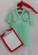 Personalized Nurse Scrubs Green Christmas Tree Ornament Holiday Gift