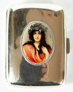1895 Antique Solid Silver Cigarette Case Art Nouveau Lady with Flower Crown