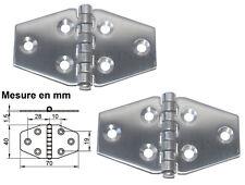 Charnière inox 70x40mm Epaisseur 1,5mm ( Lot de  2 ) inox A2
