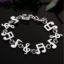 Women Charm Silver Plated Charm Cute Music Note Chain Bracelet Bangle Jewelry