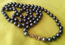 "Black Tahitian Pearls Necklace, One Strand, 1'-2"" (14"") in Looped Length, Beauty"