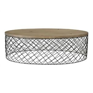 """48"""" W Ani Coffee Table Powder Coated Iron Wire Base Hand Finished Solid Oak Wood"""