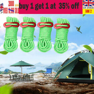 8Pcs Fluorescent Green Tent Guide Rope Tent Camping Reflecting Guy Rope 4M ·1