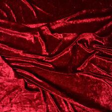 "Red Premium Crushed Velvet Fabric Craft Dress Stretch Material 150cm 59"" Width"