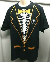 Halloween Skeleton Rib Cage Tuxedo Creepy Tee T-Shirt Mens Medium M Black Orange