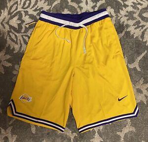 Nike Los Angeles Lakers DNA Yellow Basketball Shorts Mens Sz Small AV0148-728