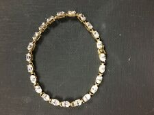 New listing 10k yellow gold tennis bracelet with 4x6mm clear stones (CZ?) pre owned