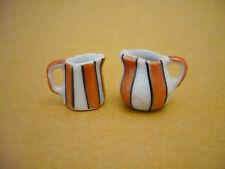 2 Mini Mix Hand Painted Orange Strip Water Jug Dollhouse Miniatures Ceramic