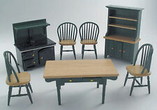1:12 Scale 7 Piece Green & Pine Kitchen Set Dolls House Miniature Accessory 897