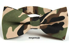 Rare Men Retro Vintage Pre-tie Bowtie Tie Party Camouflage Dazzle Green Army