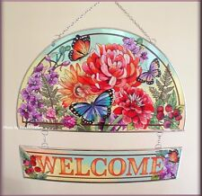INDIAN SUMMER HAND PAINTED GLASS HOSPITALITY WELCOME PANEL BY AMIA FREE US SHIP