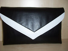 OVER SIZED BLACK AND WHITE faux leather envelope clutch bag,  fully lined BN
