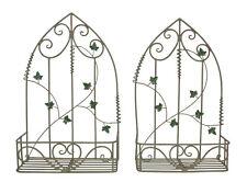 Set Of 2 Antique Green Pot Planters | Rustic Metal Planters | Garden Art