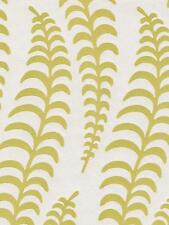 Wallpaper Designer Flocked Pale Green Yellow Wavy Fern Leaf on Pearlized Cream
