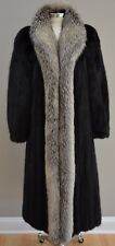 GORGEOUS Black Mink Coat with Silver Fox Trim in a Size Small