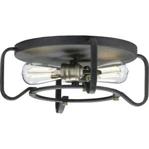 "Progress Lighting Foster 16"" Two-Light Flush Mount, Gilded Iron - P350116-071"