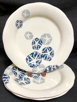 Coldwater Creek Blue SAND DOLLAR  Dinner Plates 3 EXCELLENT NEW CONDITION!!!!!