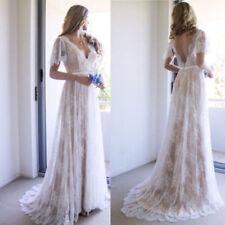 Bohemian Beach Wedding Dress Lace Short Sleeve A Line Bridal Gown Custom 4 6 8 +
