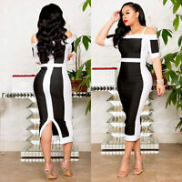 Womens Casual Bodycon Dress Short Sleeve Off The Shoulder Sexy Evening Cocktail