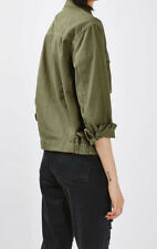 TOPSHOP Women's Buttons Front Military Twill Jacket in Olive Green Size 4 Petite