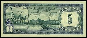 NETHERLANDS ANTILLES 5 GULDEN 1967 CURACAO  PICK # 8a XF++ /AU.  RARE BANKNOTE