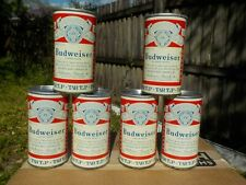 6 PACK OF FAN TAB BUDWEISER TAB TOP AT ST.LOUIS  OLD BEER CAN