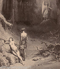 PARADISE LOST Gustav Dore POEM Art 1880 ANTIQUE  Picture Adam & Eve Garden Eden