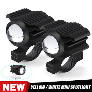 2X Motorcycle Spot Fog Light LED Headlight Driving Work Lamp Yellow White Hi-Lo