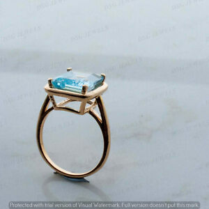 3 Ct Engagement Ring Solitaire Princess Cut Blue Aquamarine 14k Yellow Gold Over