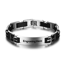 & Silver Engrave Fathers Day Gift Stainless Steel Id Bracelet Personalised Black