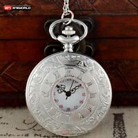 Antique Pocket Watch Quartz Chain Pendant Necklace Retro Silver Classic Mens Hot
