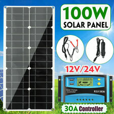 100W 18V Dual USB Flexible Solar Panel Battery Charger Kit Car Boat + Controller