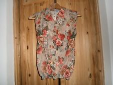 UP VINTAGE.CO.UK. SLEEVELESS FLORAL COTTON TOP. Size small.BNWT