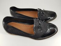 Tu size 5 (38) black faux leather bow front pumps slip on loafers flats