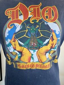 DIO Ronnie James Dio Original Vintage Sacred Heart 1985 Metal Tour Lrg T-Shirt
