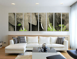 African Elephant Herd Photo Print on Canvas for Home and Office Wall Art Framed