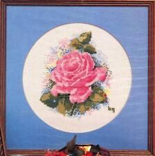Dew Drop Designs PINK ROSE Cross Stitch Chart Only ~ flower