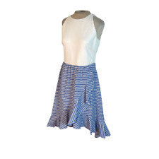 Vince Camuto High Low Ruffled Tank Dress Blue White Stripe Size 8