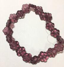 4 Raspberry Sorbet Three Petal Glass Flower Beads 12MM