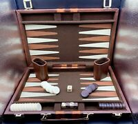 Vintage Crisloid Backgammon Set Checkers Cream/Brown Marbleized