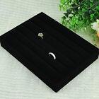 New Soft Velvet Jewelry Ring Display Organizer Showcase Box Tray Holder Black