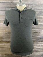 Prana Mens Polo Striped Gray Shirt Size Small